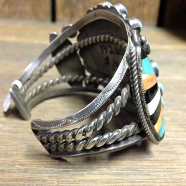 1920s Zuni Bracelet With Stone On Stone Elements