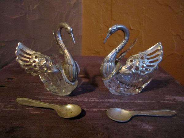 1930s Salt Cellar Swans