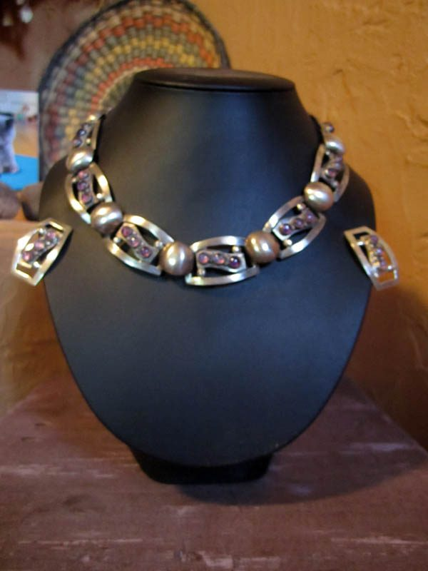 1930s Amethyst, Taxco Sterling Link Necklace & Matching Earrings