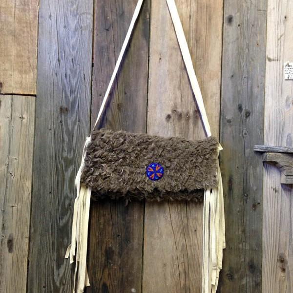 Buffalo Hide Tipi Bag, Beaded Rosette