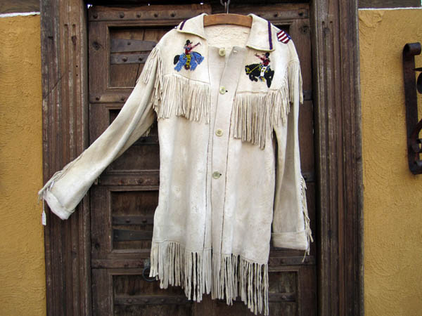 Fringed Beaded Buckskin Jacket Showing Bucking Horses