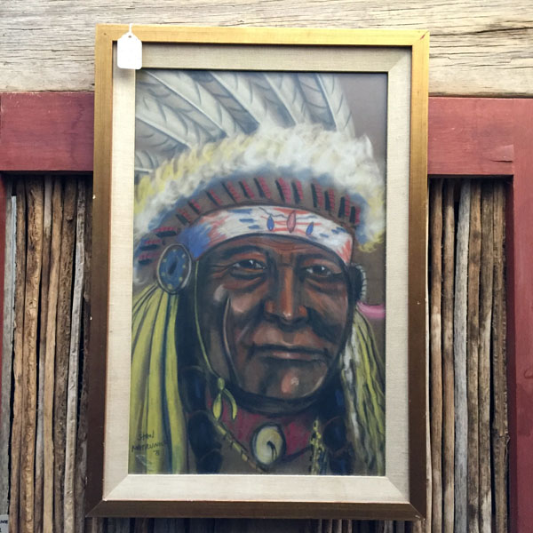 Vintage Indian Chief Original Pastel