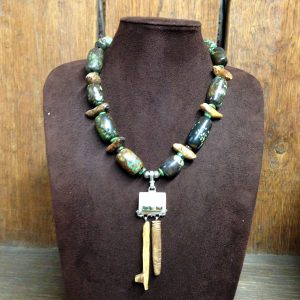 Walrus Ivory Key Pendant & Turquoise Rounds Necklace