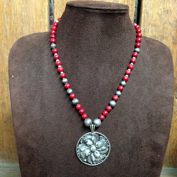 Taxco Flower Pendant, Red Coral Strand