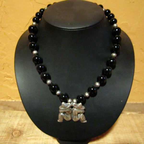 Onyx Two Mexican Men Necklace