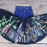 1940s Painted Skirt, Denim