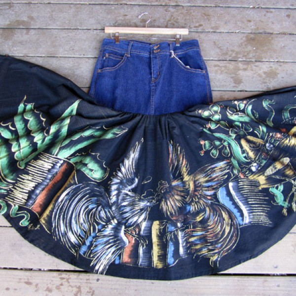 1940s Painted Skirt, Denim