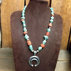 Navajo Naja, Turquoise, Red Coral Beads Necklace