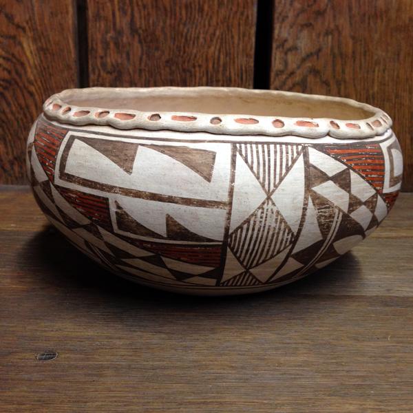 1940s Acoma Decorated Rim Bowl