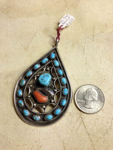 Navajo Teardrop Pendant, Turquoise, Red Coral