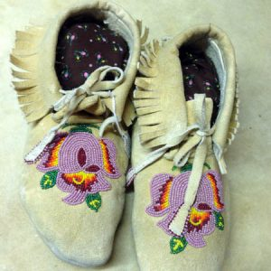 Shoshone Braintanned Beaded Moccasins