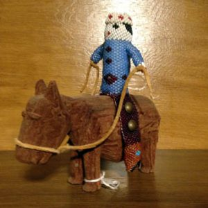 Zuni Beaded Doll, Wood Horse