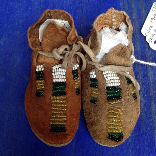 1890s - 1900 Beaded Infant Buckskin Moccasins