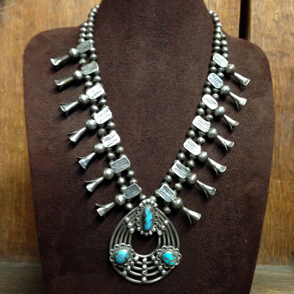 1940s Navajo Squash Blossom Necklace, Oval Naja