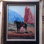 Navajo Girl Mounting Horse Original Oil