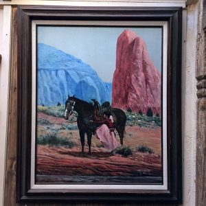 Navajo Girl Mounting Horse Original Oil