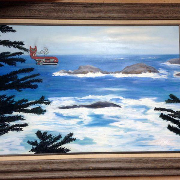 Seascape With Northwest Coast Spirit Whale Original Oil