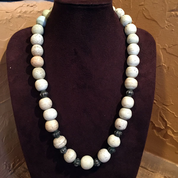 1700s Venetian Glass Bead Necklace & Sterling Beads