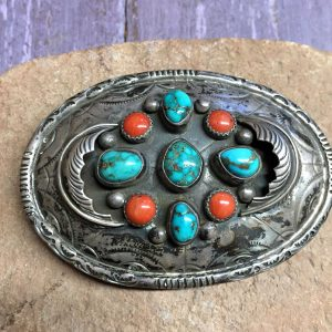 1960s Navajo Buckle, Red Mountain Turquoise