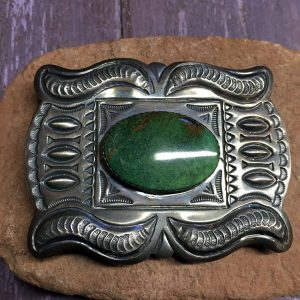 Heavy Navajo Buckle, Beautiful Green Turquoise