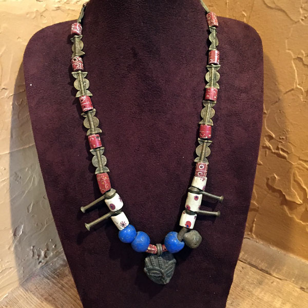 Venetian Glass Trade Beads & Ivory Coast Brass Beads Necklace