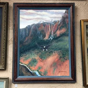 Eagle Descending Through Canyon Original Oil