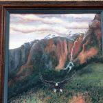 Original Oil Of Eagle Descending Through Canyon