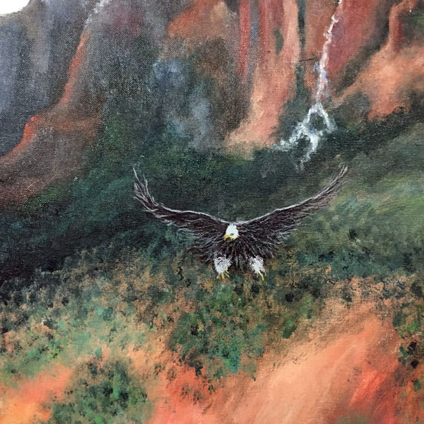 Original Oil Of Eagle Descending Through Canyon