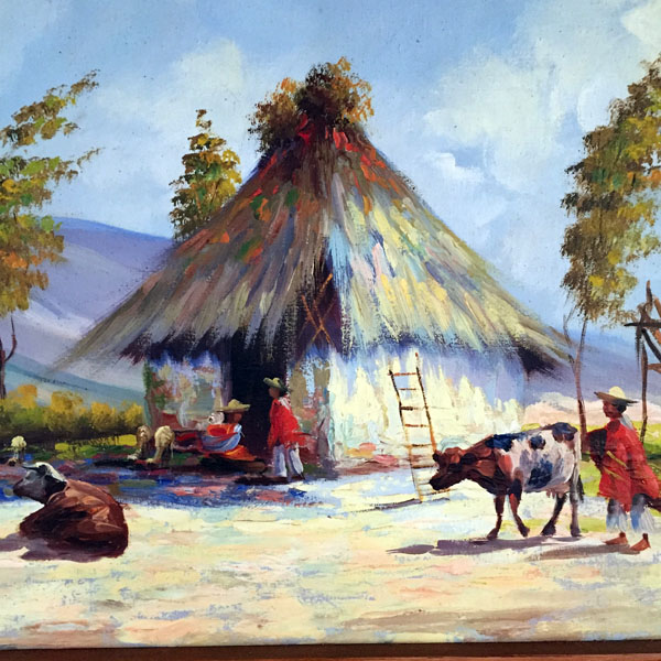 Original Oil Of Peruvian Life Setting