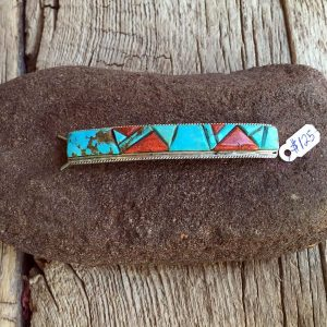 Sterling, Turquoise & Red Coral Pin