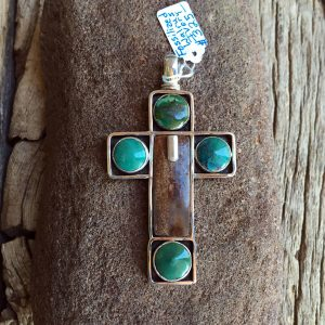 Fossilized Walrus Ivory Cross & Four Turquoise Rounds