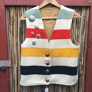 Osage Trade Blanket Vest, Fur Trade Brooches