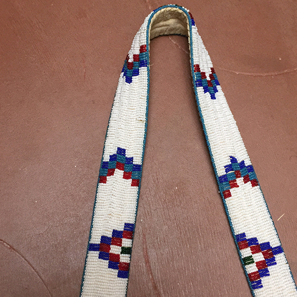 Fully Beaded Leather Bag With Beaded Strap