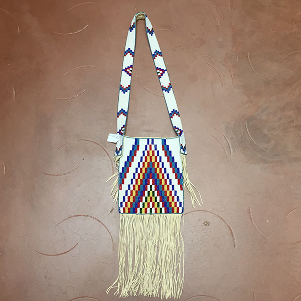 Fully Beaded Leather Bag & Beaded Strap