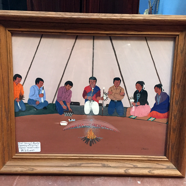 Navajo Original Watercolor Peyote Ceremony