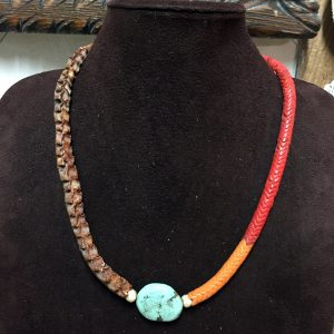 Vertebrae Necklace & Turquoise Nugget Pendant