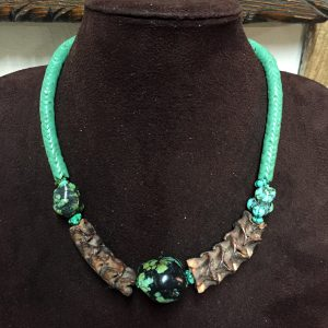 Natural Snake Vertebrae, Turquoise & Glass Vertebrae Necklace