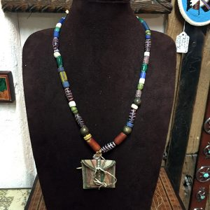 Parfleche Bag & Old Venetian Glass Trade Beads Necklace