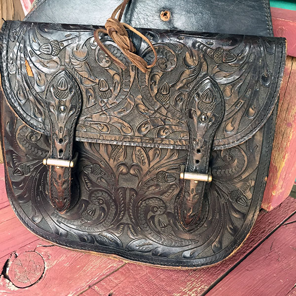 Old Hand Tooled Saddle Bag 3