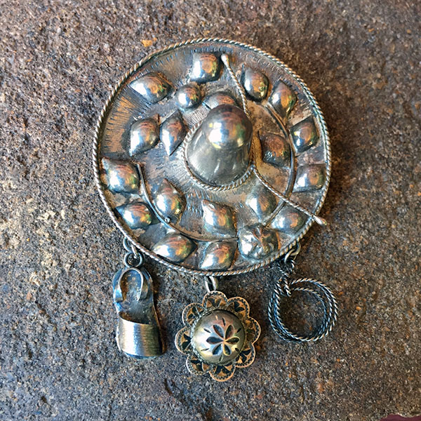 1930s Taxco Sterling Sombrero Pin & Charms