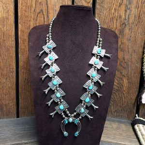 1970s Navajo Natural Turquoise Sterling Squash Blossom Necklace