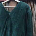 Doleman Sleeved Green Suede Leather Dress 10