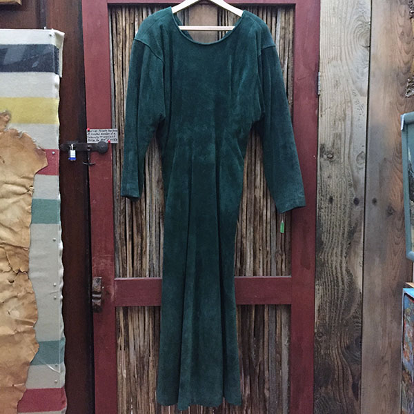 Doleman Sleeved Green Suede Leather Dress 11