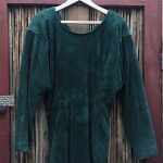 Doleman Sleeved Green Suede Leather Dress 12