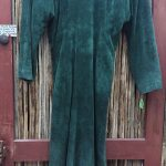 Doleman Sleeved Green Suede Leather Dress 13