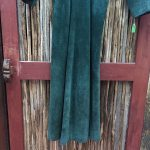 Doleman Sleeved Green Suede Leather Dress 14