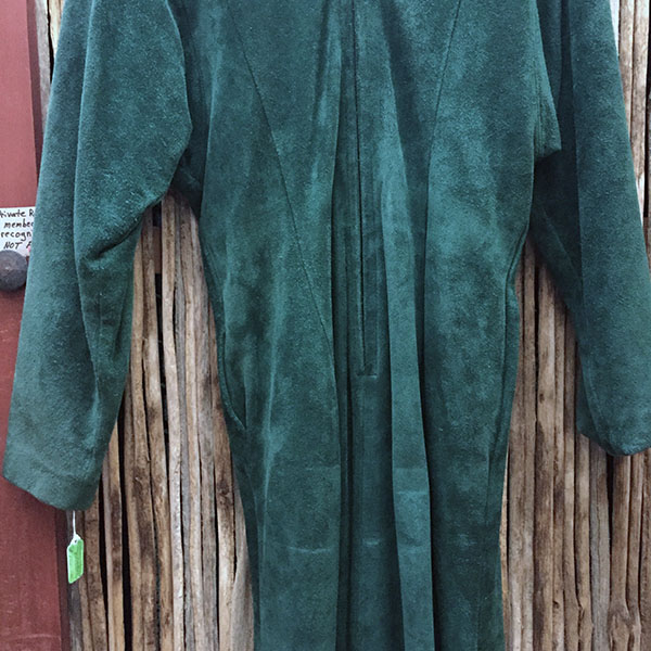 Doleman Sleeved Green Suede Leather Dress 3