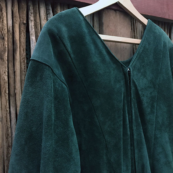 Doleman Sleeved Green Suede Leather Dress 7