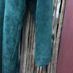 Doleman Sleeved Green Suede Leather Dress 8
