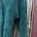 Doleman Sleeved Green Suede Leather Dress 9